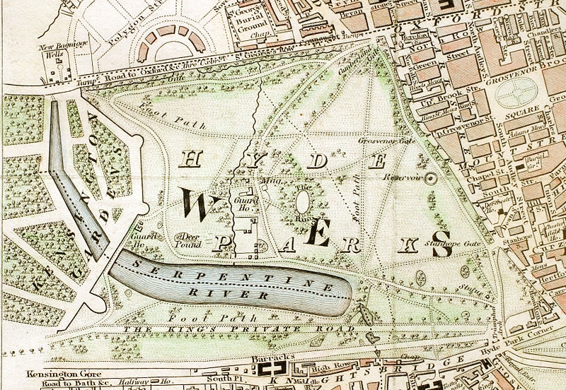 "London Parks: Hyde Park section of ""Improved map of London for 1833, from Actual Survey. Engraved by W. Schmollinger, 27 Goswell Terrace"""