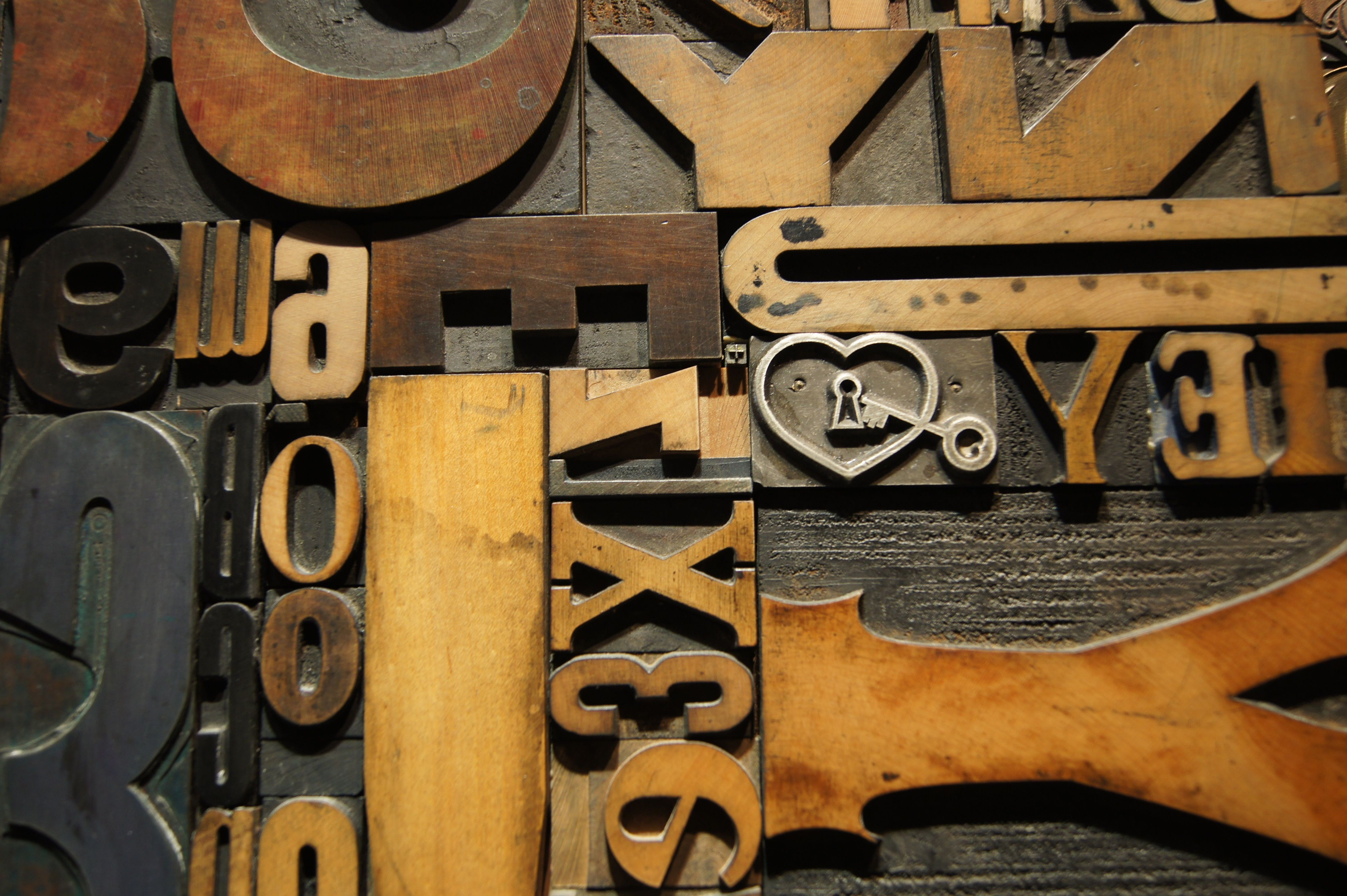 Close up of the pieces of hand-set type used in the Gutenberg's Puzzle artwork in the Newseum in Washington, D.C.