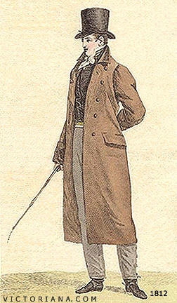 Regency Era Men's Fashion: a simpler overcoat