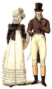 A couple showing off typical Regency Era Fashions.
