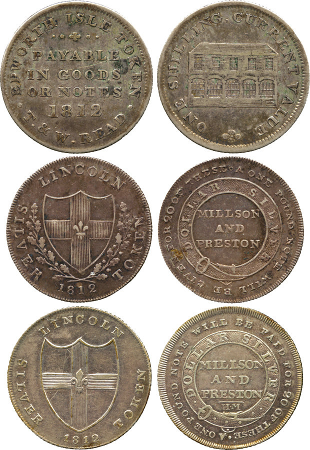 Regency Era Currency: One Shilling, silver tokens, 1812.