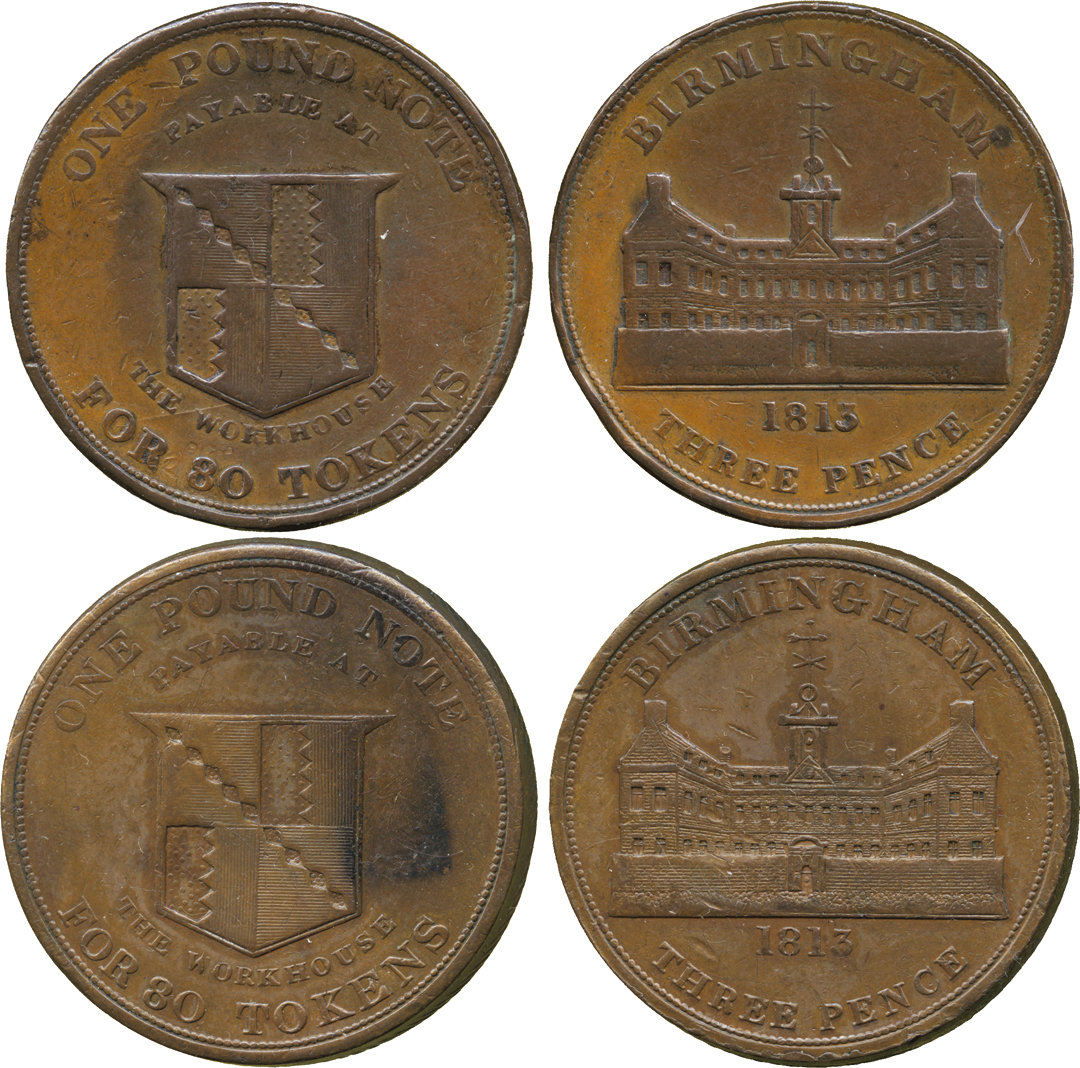 Regency Era Currency: 1813 Three Pence, copper tokens.