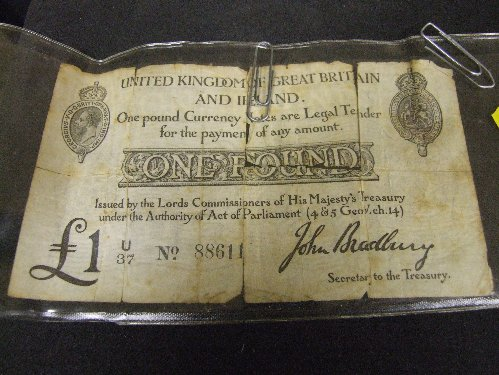 Regency Era Currency: One pound note, legal tender, 1818.