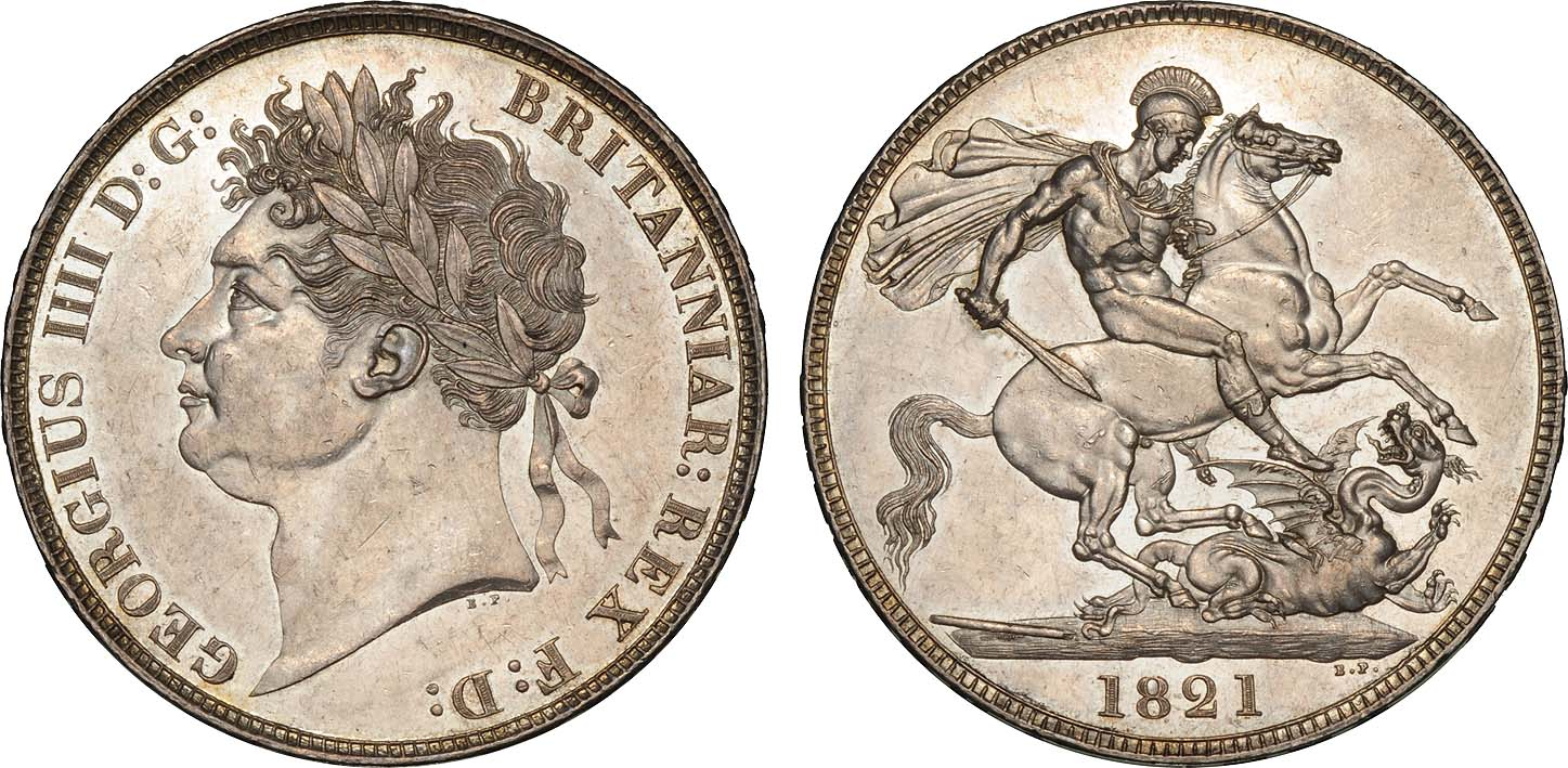 Regency Era Currency: One crown coin, 1821, after George IV has been crowned.