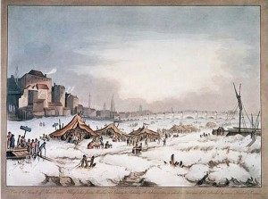 The Last Frost Fair: Painting of the frozen Thames River off Three Cranes Wharf in 1814.