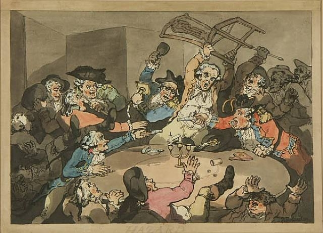 "A painting entitled, ""Kick-up at the Hazard Table"" by Thomas Rowlandson."