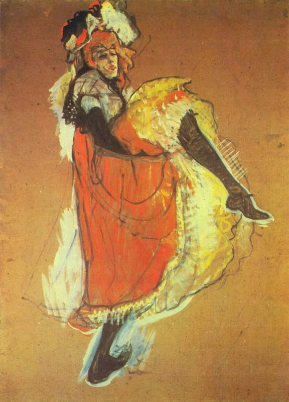 Painting of Jane Avril, Dancing by Toulouse Lautrec