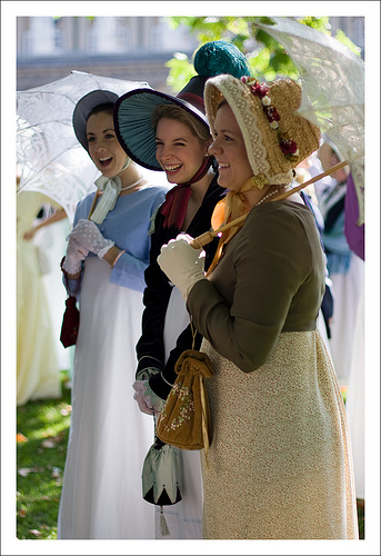 A photo of three Regency ladies.
