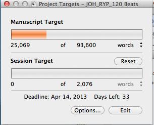 Target Word Count: Screen capture of word meter and deadlines in Scrivener's Project Target window.