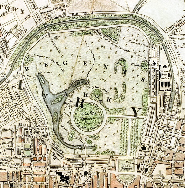 """London Parks: The Regent's Park section of """"Improved map of London for 1833, from Actual Survey. Engraved by W. Schmollinger, 27 Goswell Terrace"""","""