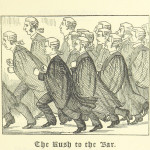 """The Rush to the Bar"" from from page 31 of 'Ballads of the Bench and Bar; or, Idle Lays of the Parliament House. 1882."