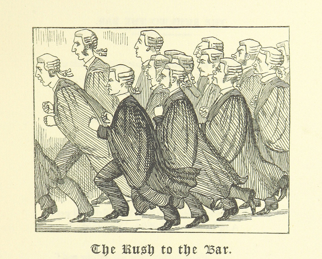 """The Rush to the Bar"" from page 31 of 'Ballads of the Bench and Bar; or, Idle Lays of the Parliament House. 1882."
