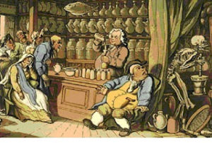 Regency Era Doctors: Thomas Rowlandson's illustration entitled Death and the Apothecary or The Quack Doctor.